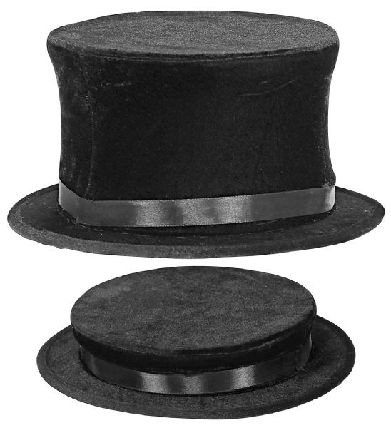 Adults Unisex Collapsible Top Hat Suede Look Circus Fancy Dress Hat